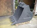 "Side profile of 42"" excavator bucket from USA Attachments. Fits machines 33,000 to 40,000 lbs."