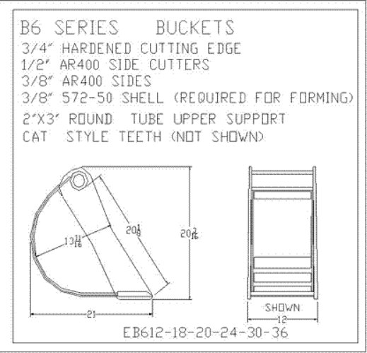 B6 Series Excavator Buckets 3/4