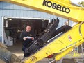 Kobelco Hydraulic Thumb with HT1850 installed