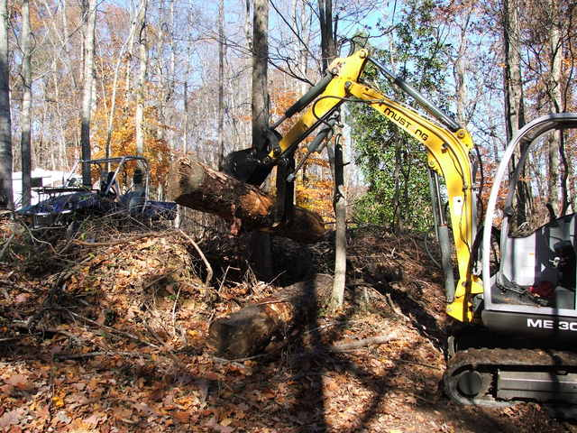 MUSTANG ME 3003 with HT830 mini hydraulic thumb by USA Attachments