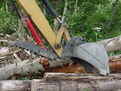HT830 mini hydraulic excavator thumb extended, getting ready to grasp a log.