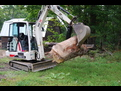 "8"" x 30\"" mini hydraulic excavator thumb by USA Attachments installed on TEREX HR16"