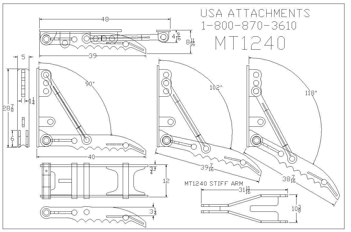 MT1240 excavator thumb line drawing: USA Attachments 1.800.870.3610.