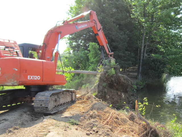 Hitachi ex120 excavator with mt1850 thumb removing a tree