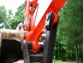 MT824 mini excavator thumb installed on a Kubota excavator