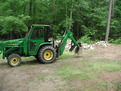 "john deere 430 mini backhoe farm tractor with 8""x24"" thumb installed"