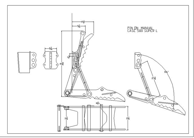 THUMB FOR CASE 580  MANUAL SUPER L LINE DRAWING